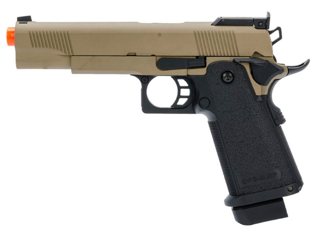 JAG Arms GM4 Black Slide with Tan Frame Gas BB Pistol