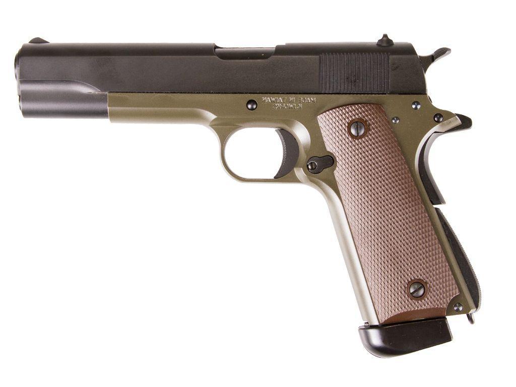 KJ Works M1911 Full Metal Blowback Olive CO2 Airsoft Pistol