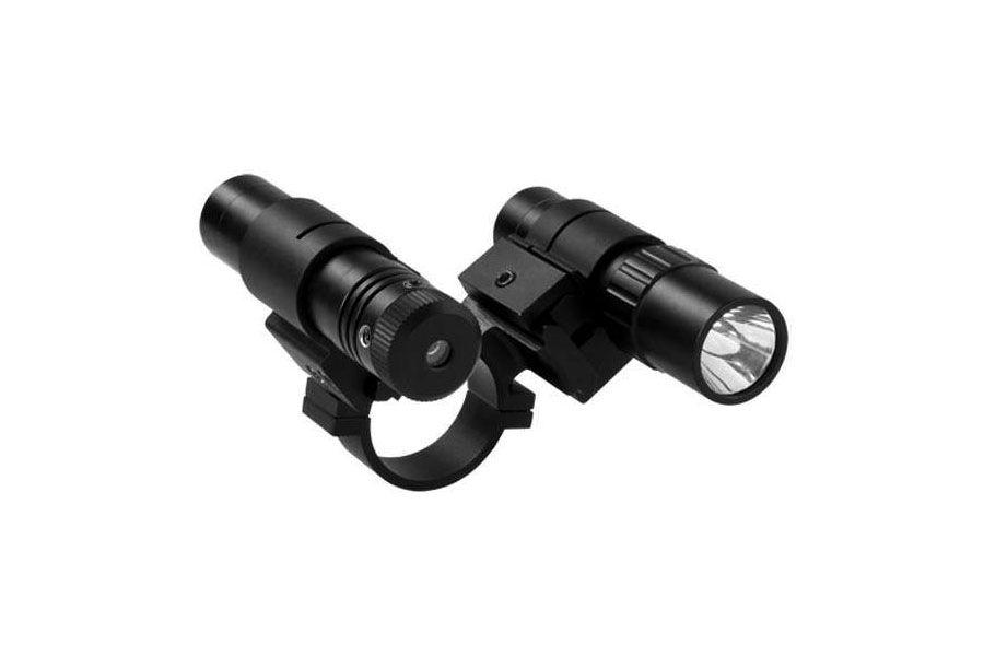Ncstar Double Rail Scope Adapter And Flashlight With Green Laser Set