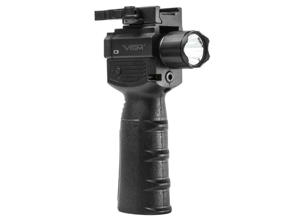 Vert Grip with Strobe Flashlight and Green Laser