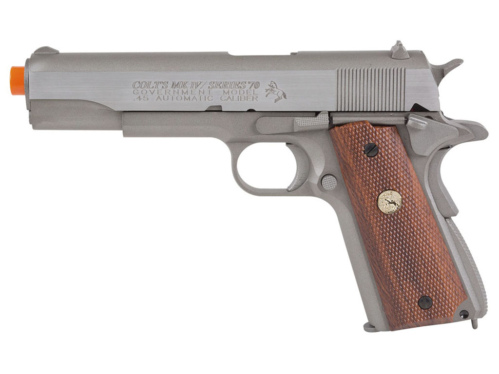 Colt MK IV Series 70 Silver W/ Wood Grip GBB Airsoft gun