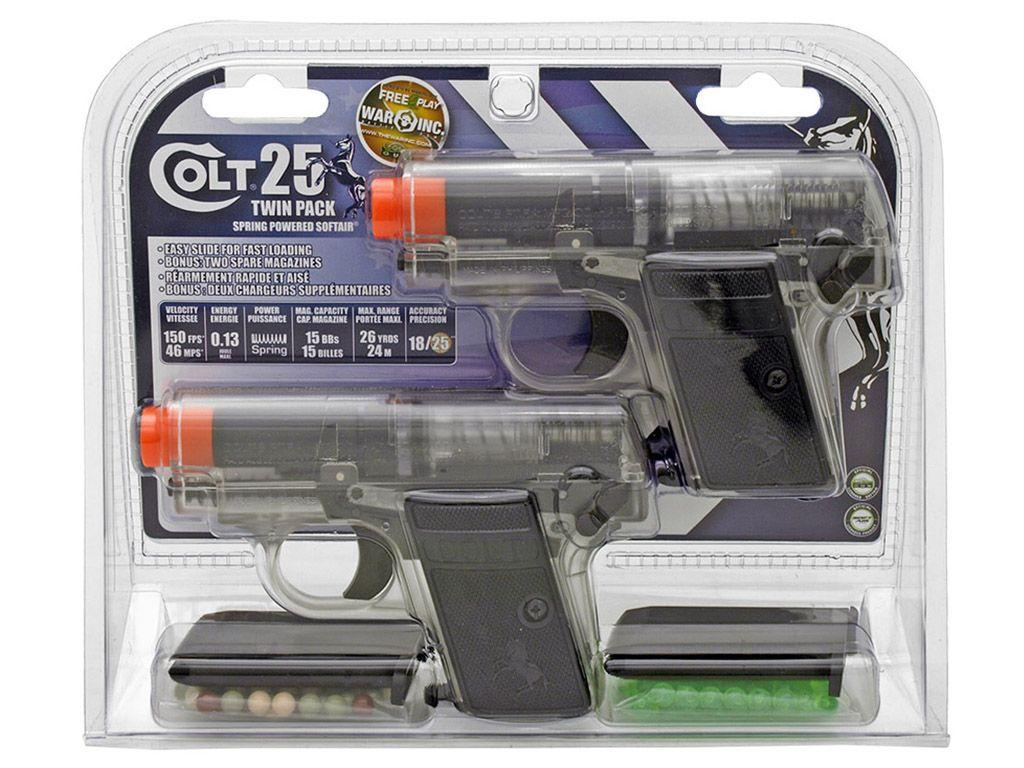 Colt .25 Spring Airsoft Pistol Clear Twin Pack