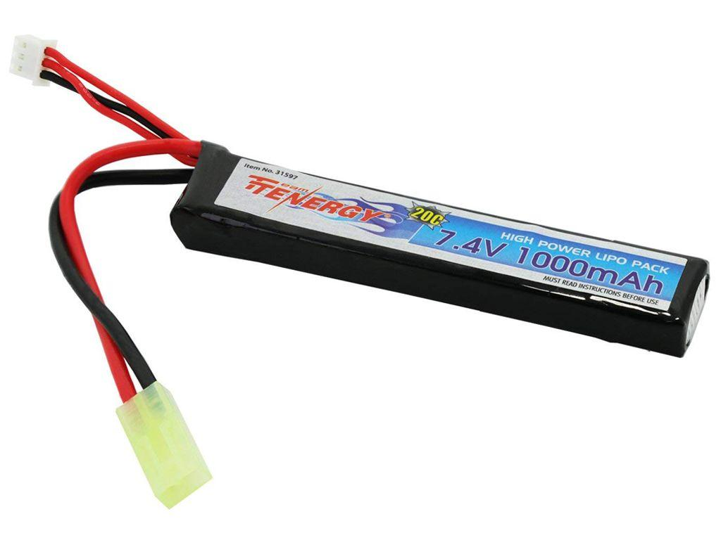Tenergy 7.4V 1000mAh 20C LiPo Buffer Tube Airsoft Battery