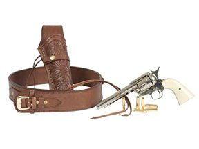 Western Justice .38-Cal Loops Gun Leather Belt - 2.5 Inch Wide