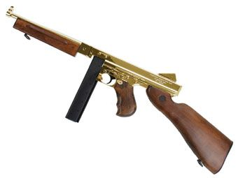 King Arms M1A1 Gold Thompson HI Grade Airsoft Rifle