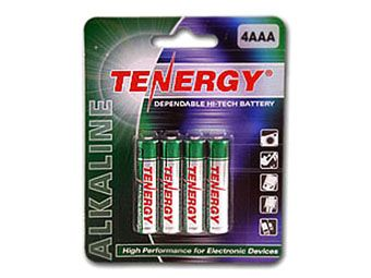 Tenergy 1.5V Alkaline AAA Batteries - 4 Pack