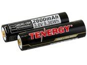 Tenergy 2 Pack Li-Ion 18650 2600mAh Protected Button Top Battery W/ USB Port